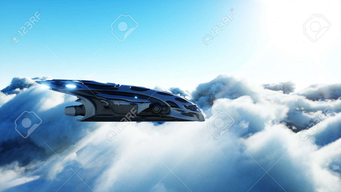 Futuristic sci fi ship flying in the clouds. 3d rendering. - 162391697