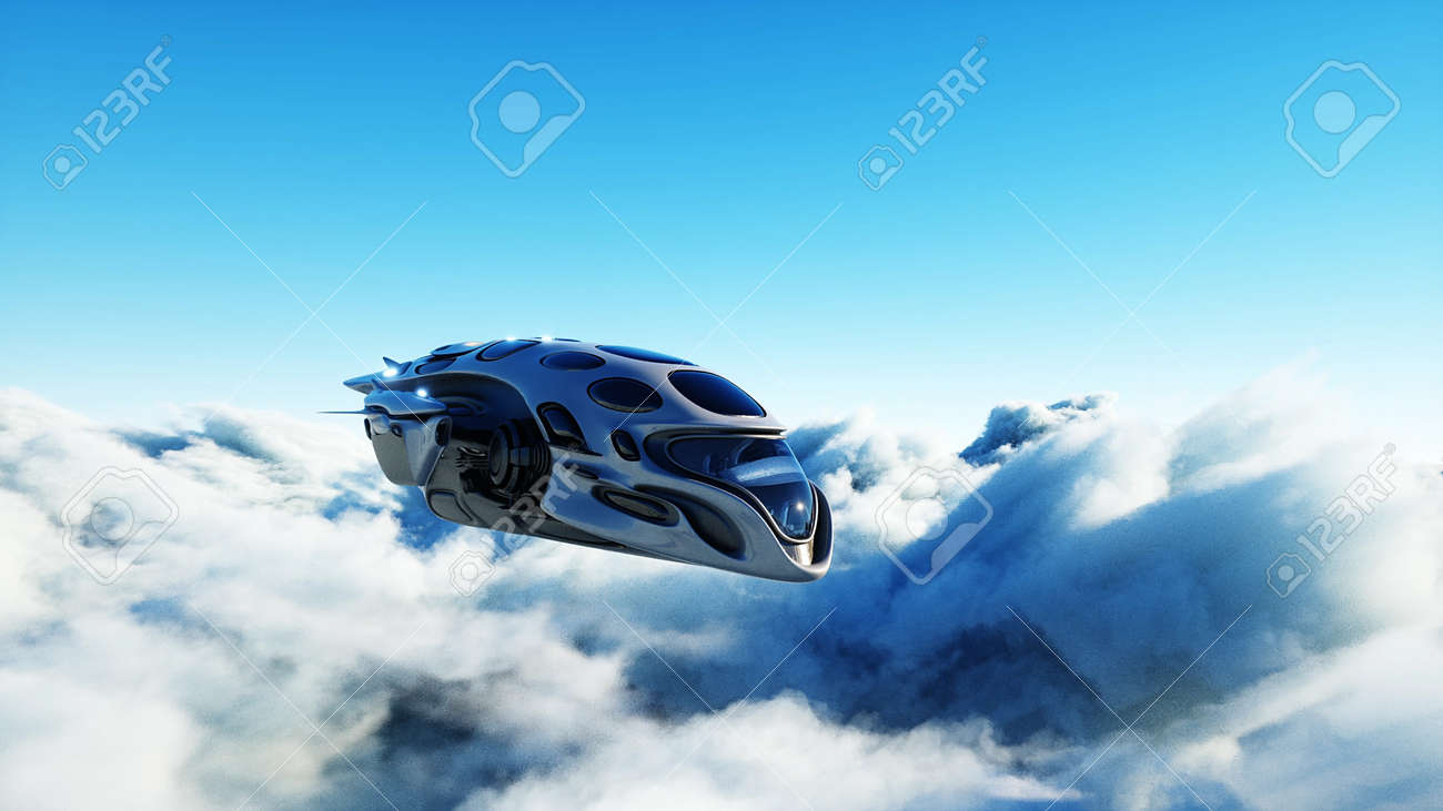 Futuristic sci fi ship flying in the clouds. 3d rendering. - 162391703
