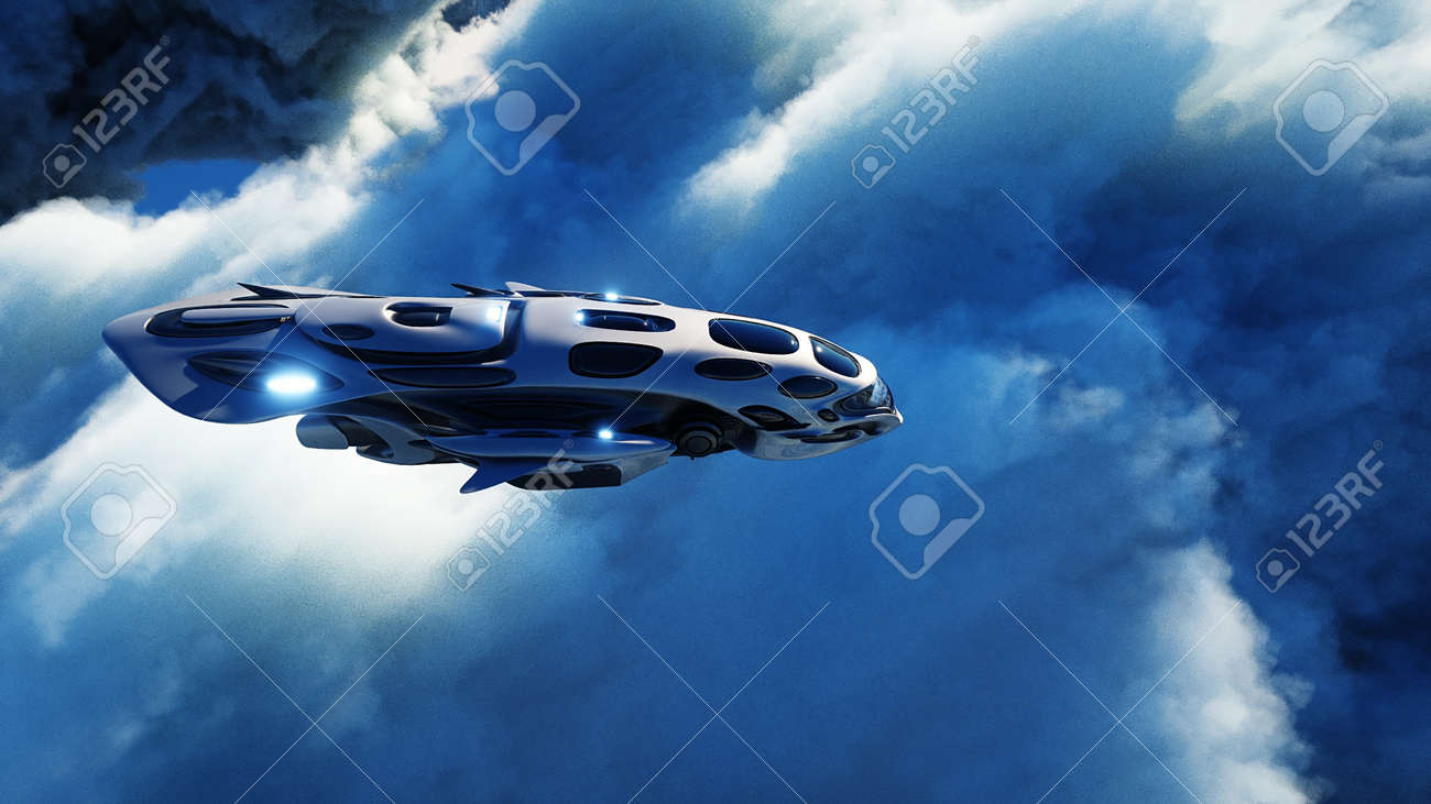 Futuristic sci fi ship flying in the clouds. 3d rendering. - 162391705
