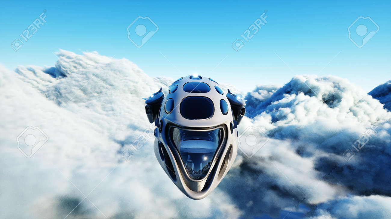 Futuristic sci fi ship flying in the clouds. 3d rendering. - 162391706