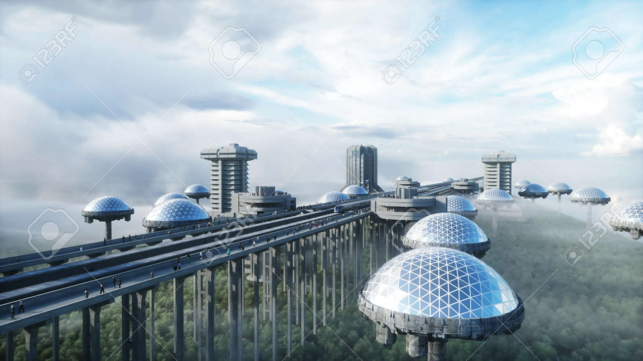 futuristic train station with monorail and train. traffic of people, crowd. Concrete architecture. Future concept. 3d rendering. - 162356008