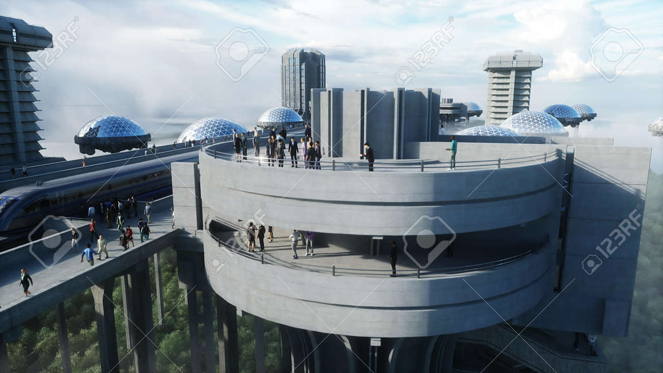 futuristic train station with monorail and train. traffic of people, crowd. Concrete architecture. Future concept. 3d rendering. - 162356123