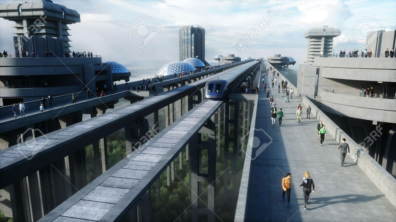 futuristic train station with monorail and train. traffic of people, crowd. Concrete architecture. Future concept. 3d rendering. - 162356127