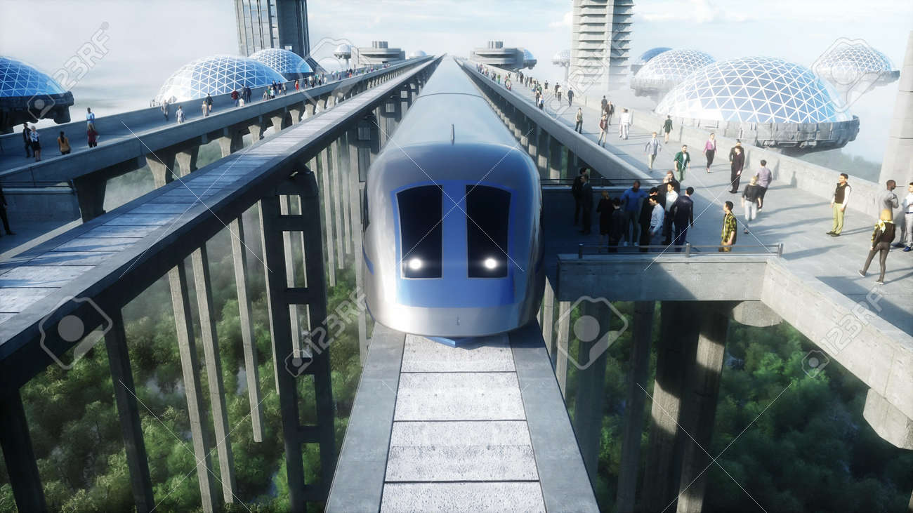 futuristic train station with monorail and train. traffic of people, crowd. Concrete architecture. Future concept. 3d rendering. - 162356125