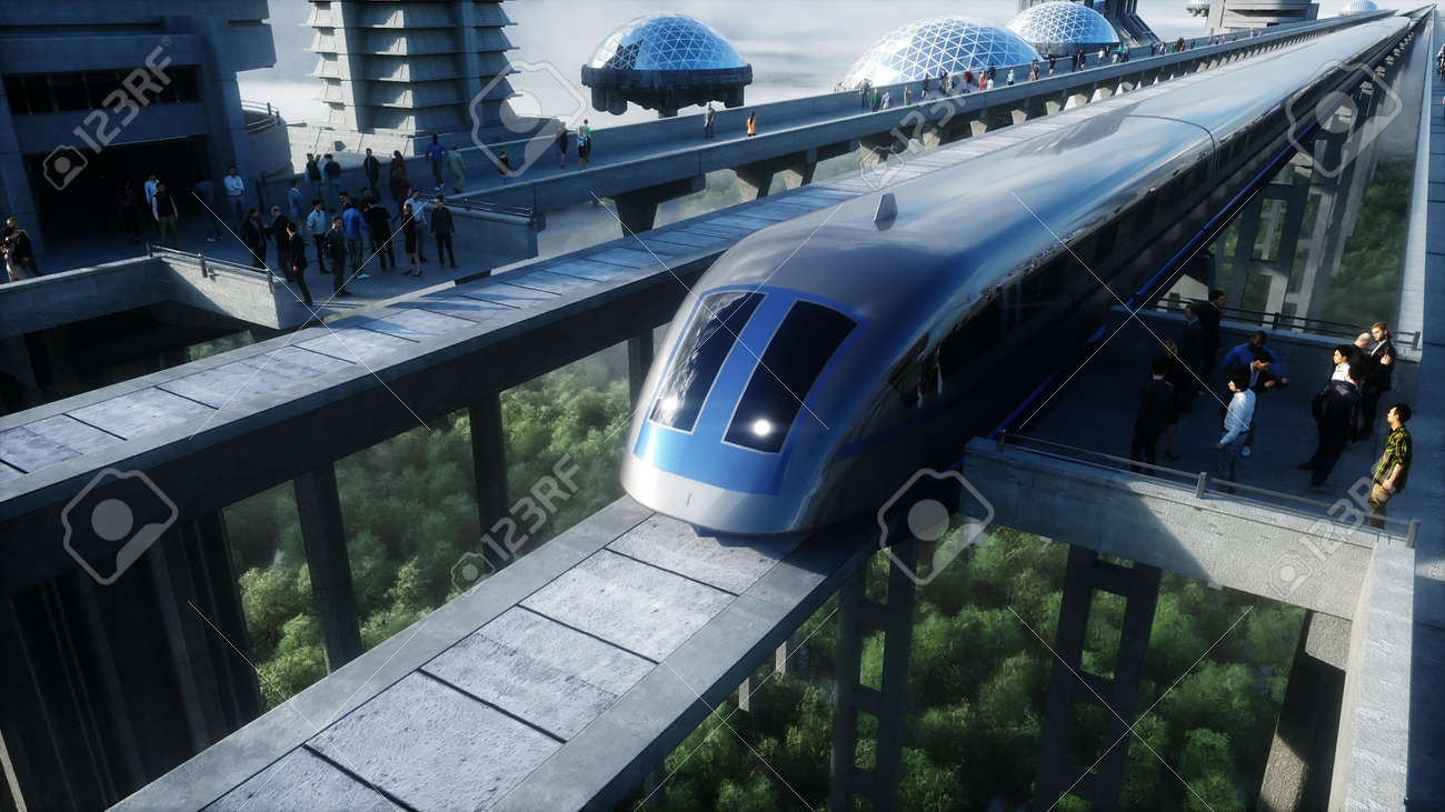 futuristic train station with monorail and train. traffic of people, crowd. Concrete architecture. Future concept. 3d rendering. - 162356131