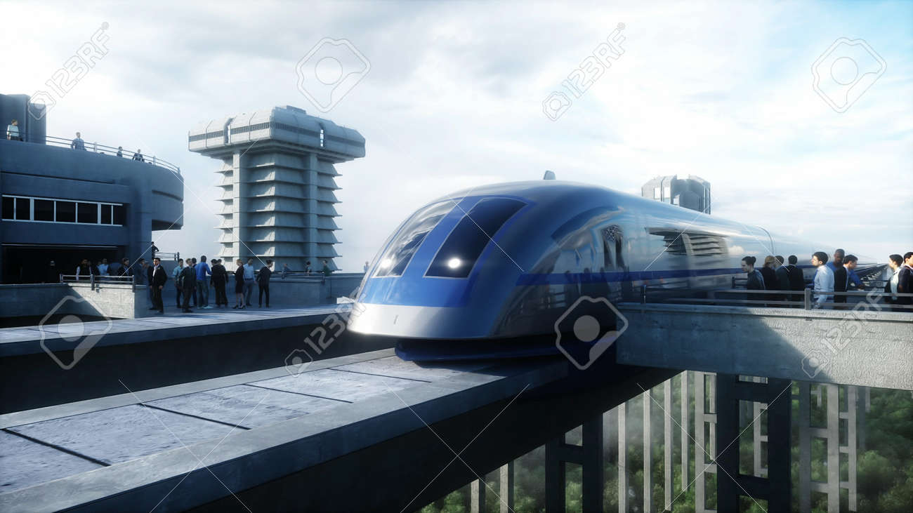 futuristic train station with monorail and train. traffic of people, crowd. Concrete architecture. Future concept. 3d rendering. - 162356130