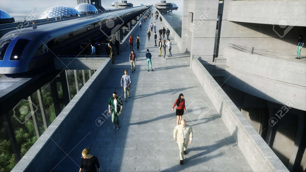 futuristic train station with monorail and train. traffic of people, crowd. Concrete architecture. Future concept. 3d rendering. - 162356133