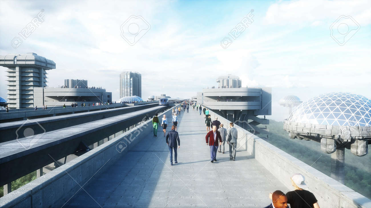 futuristic train station with monorail and train. traffic of people, crowd. Concrete architecture. Future concept. 3d rendering. - 162356132