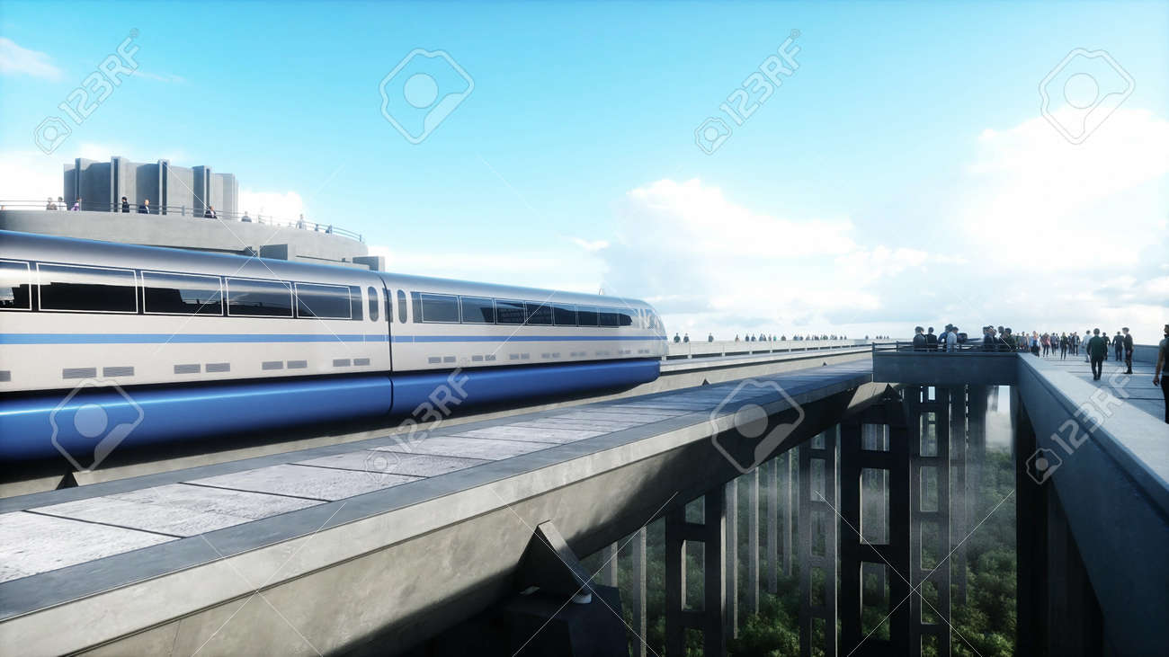 futuristic train station with monorail and train. traffic of people, crowd. Concrete architecture. Future concept. 3d rendering. - 162356135