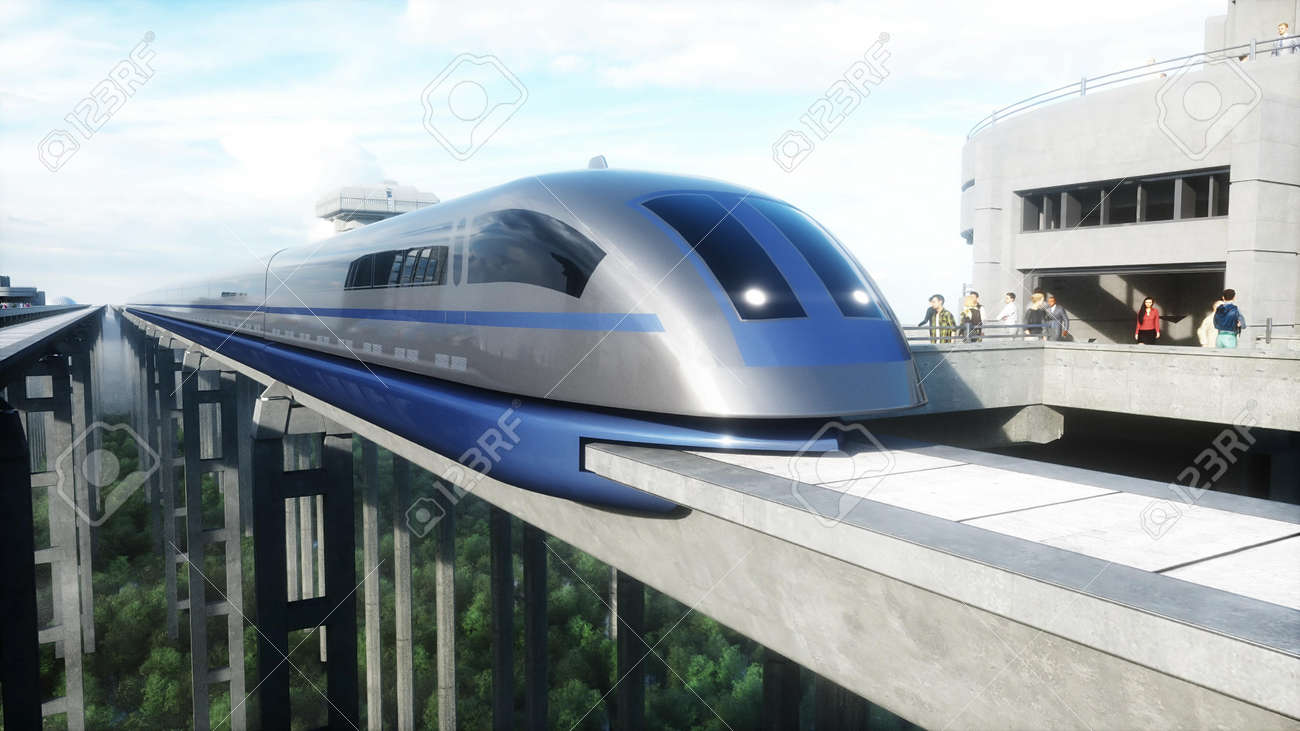 futuristic train station with monorail and train. traffic of people, crowd. Concrete architecture. Future concept. 3d rendering. - 162356137