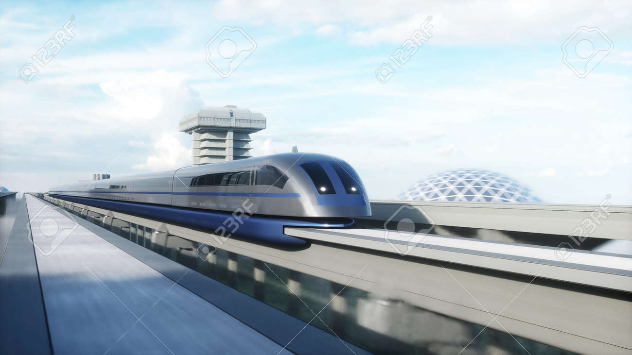 futuristic train station with monorail and train. traffic of people, crowd. Concrete architecture. Future concept. 3d rendering. - 162356139