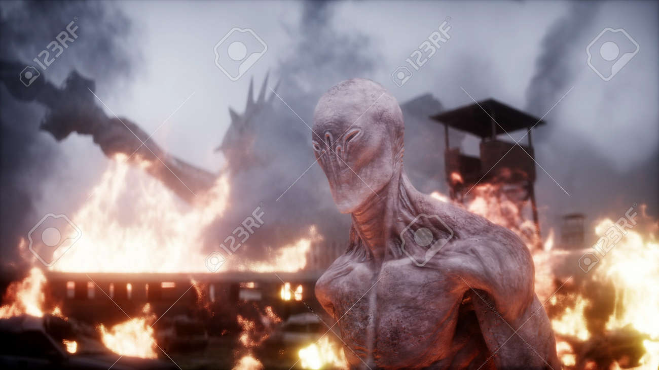 Alien, monster in a burning ruined apocalyptic city. Armageddon america view. Realistic fire simulation. 3d rendering - 162356175