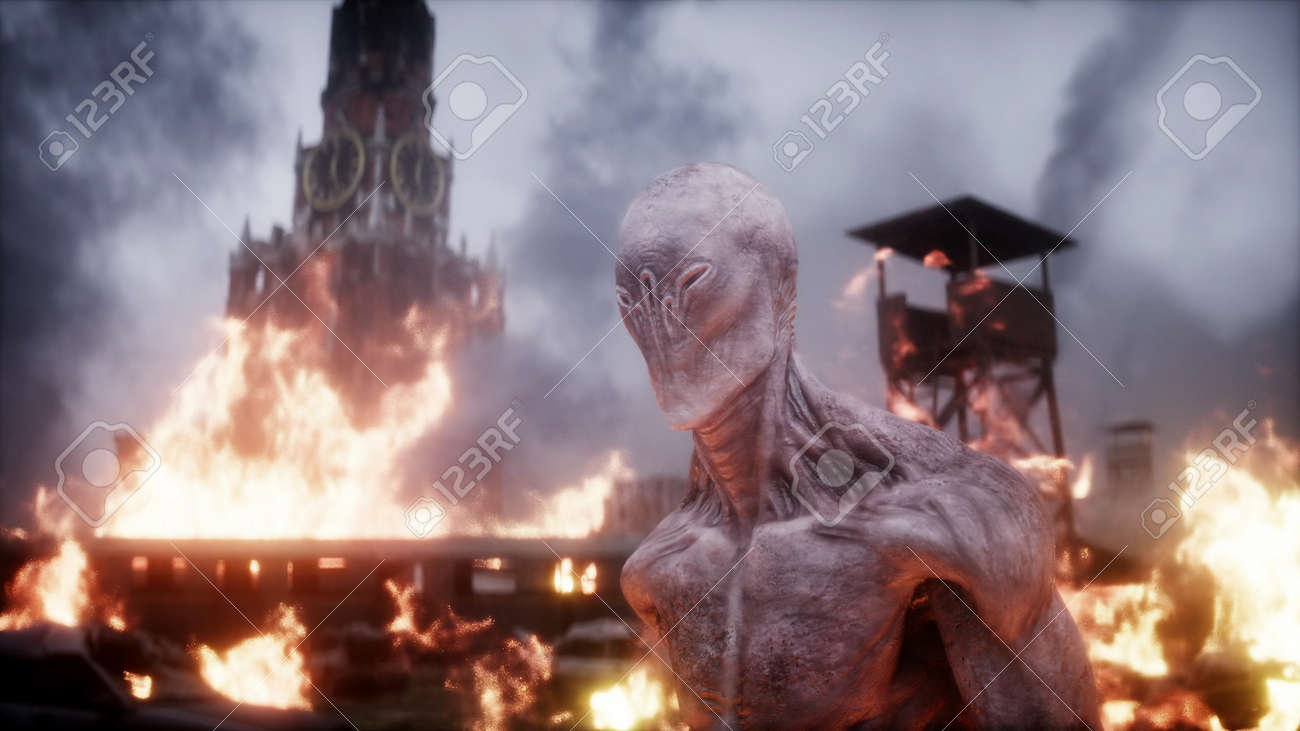 Alien, monster in a burning ruined apocalyptic city. Armageddon Moscow view. Realistic fire simulation. 3d rendering - 162356177