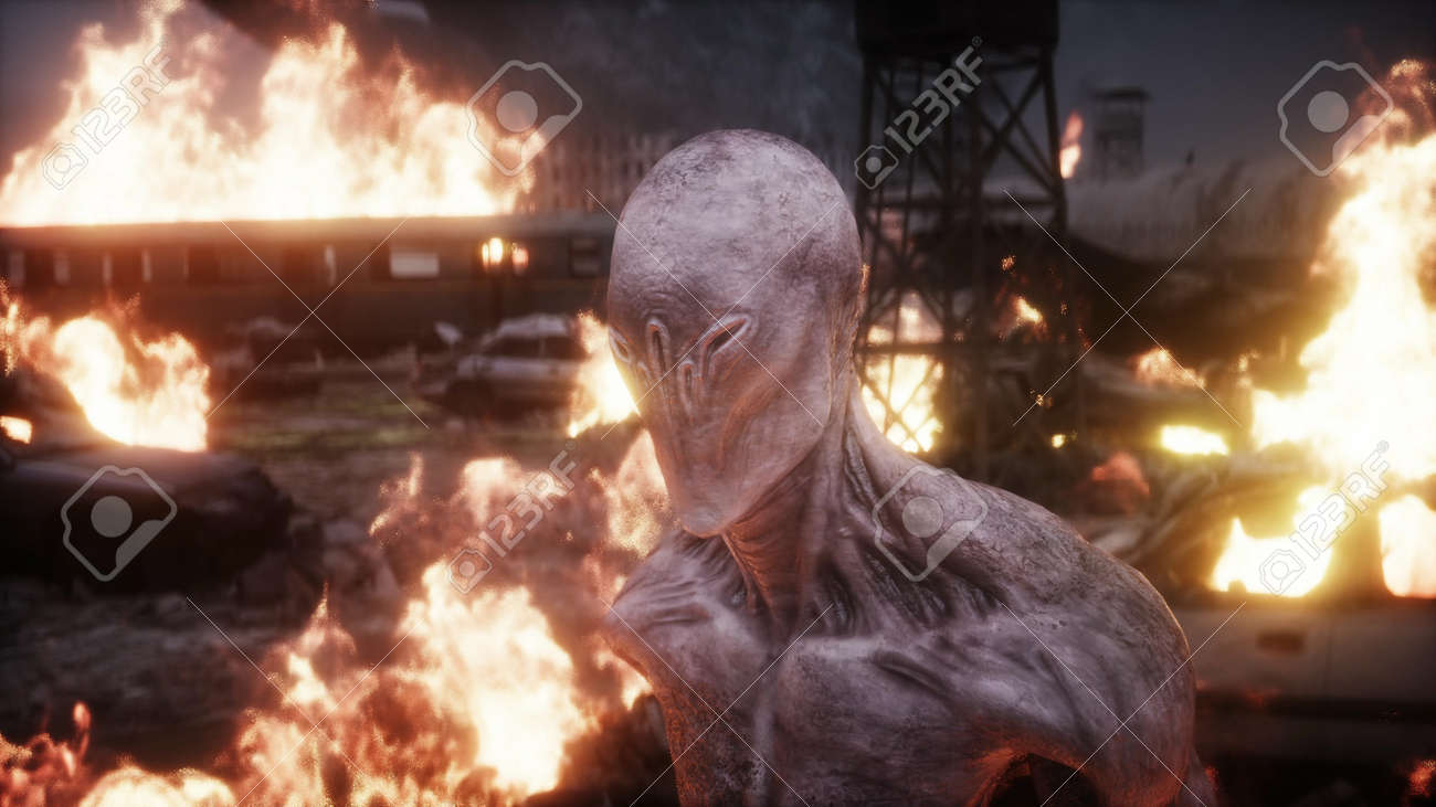 Alien, monster in a burning ruined apocalyptic city. Armageddon view. Realistic fire simulation. 3d rendering - 162356178