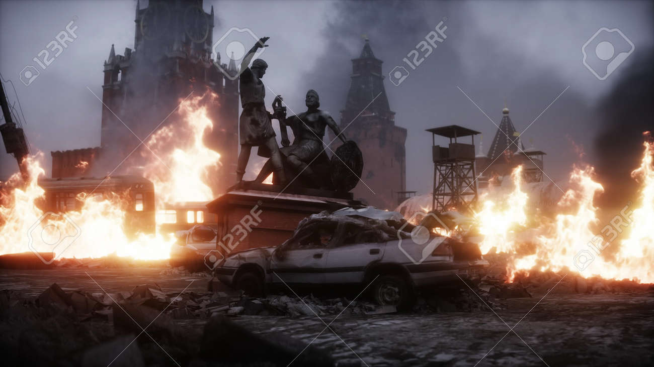 Russian apocalypsis. burning ruined Moscow city. Armageddon view. Realistic fire simulation. Postapocalyptic. 3d rendering. - 162356191