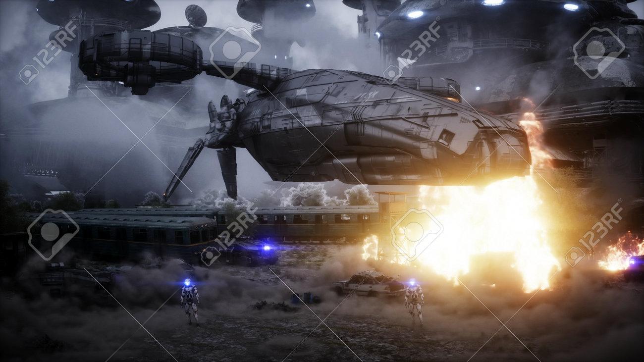 Futuristic sci fi ship take wing. Military robot. Apocalypse city. 3d rendering. - 162356197