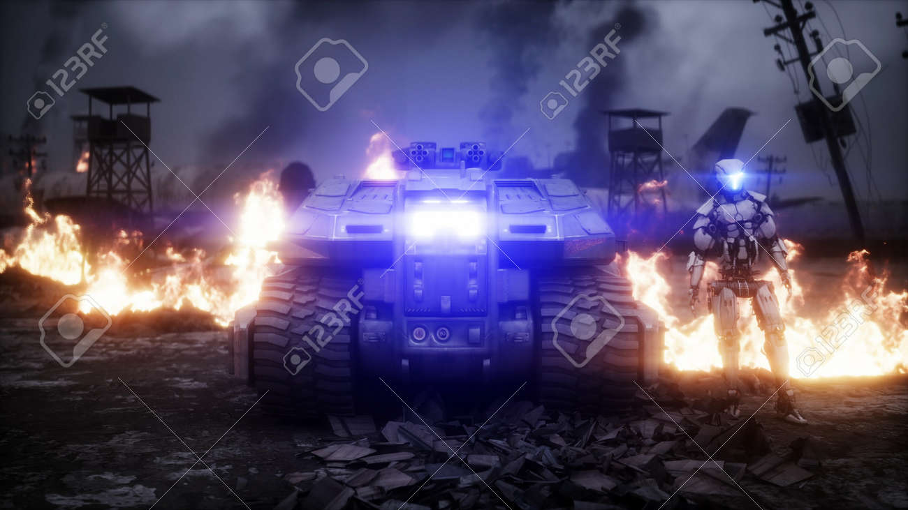 Military car in a burning ruined apocalyptic city. Armageddon view. Realistic fire simulation. Postapocalyptic. 3d rendering - 162356199