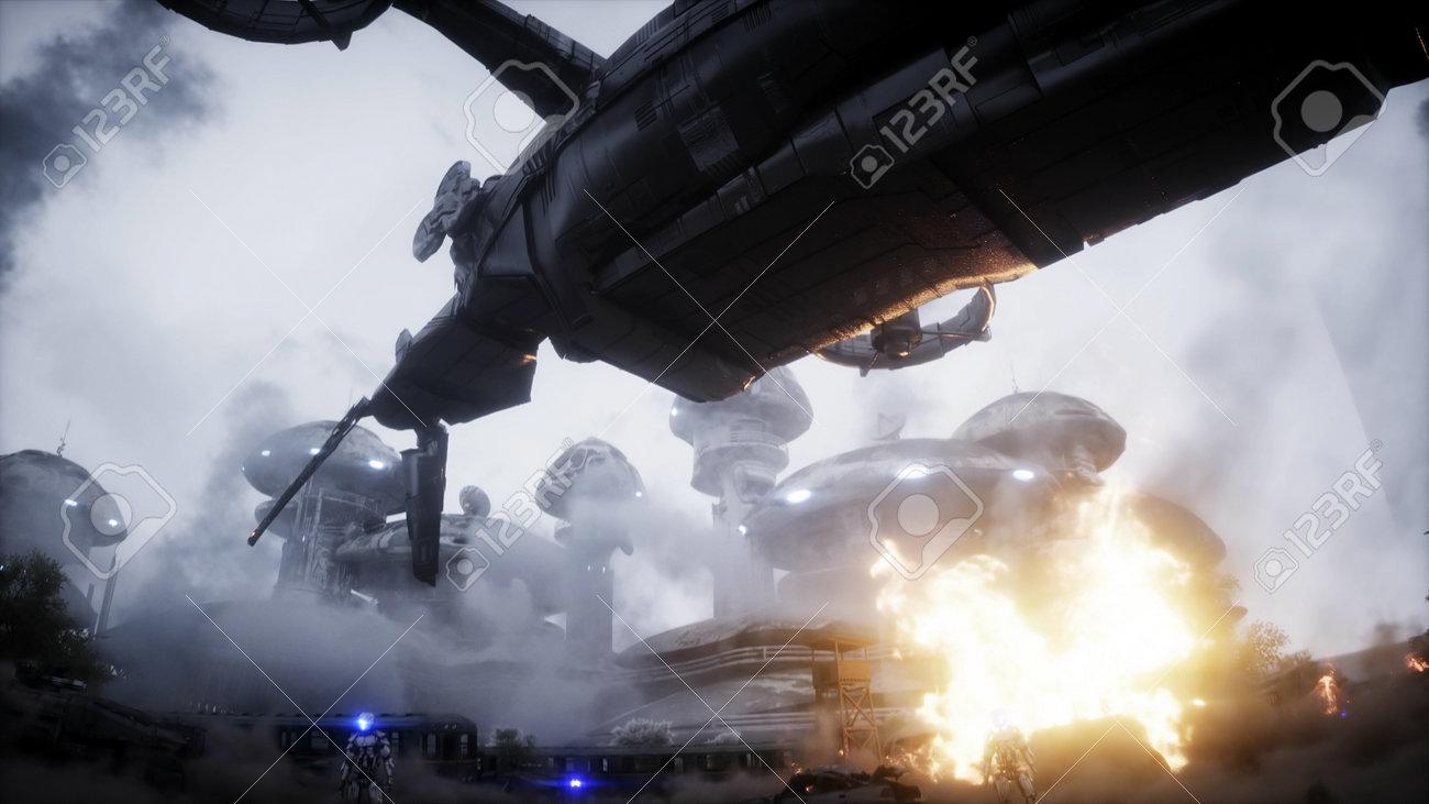 Futuristic sci fi ship take wing. Military robot. Apocalypse city. 3d rendering. - 162356202