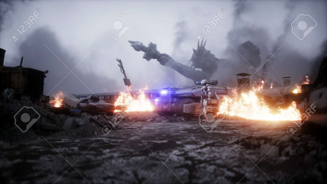 American apocalypsis. Military car in a burning ruined city. Armageddon view. 3d rendering. - 162356203