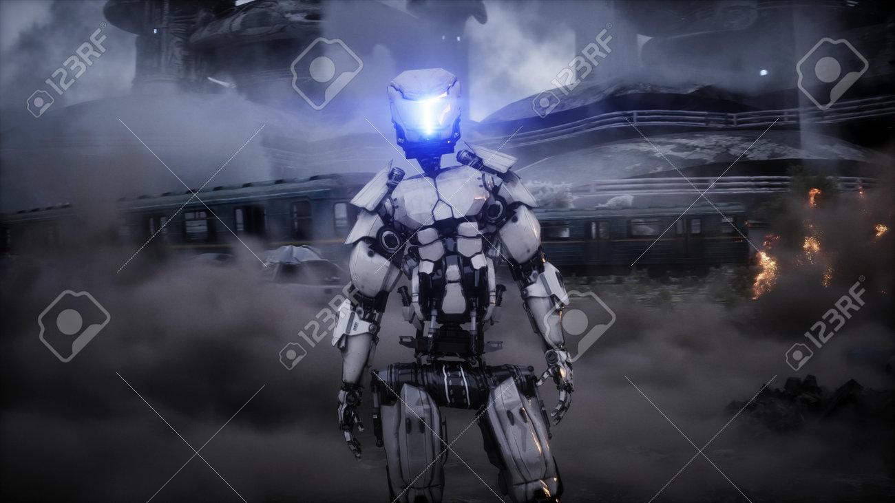 Futuristic sci fi ship take wing. Military robot. Apocalypse city. 3d rendering. - 162356204