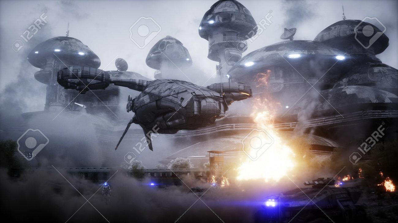 Futuristic sci fi ship take wing. Military robot. Apocalypse city. 3d rendering. - 162356205