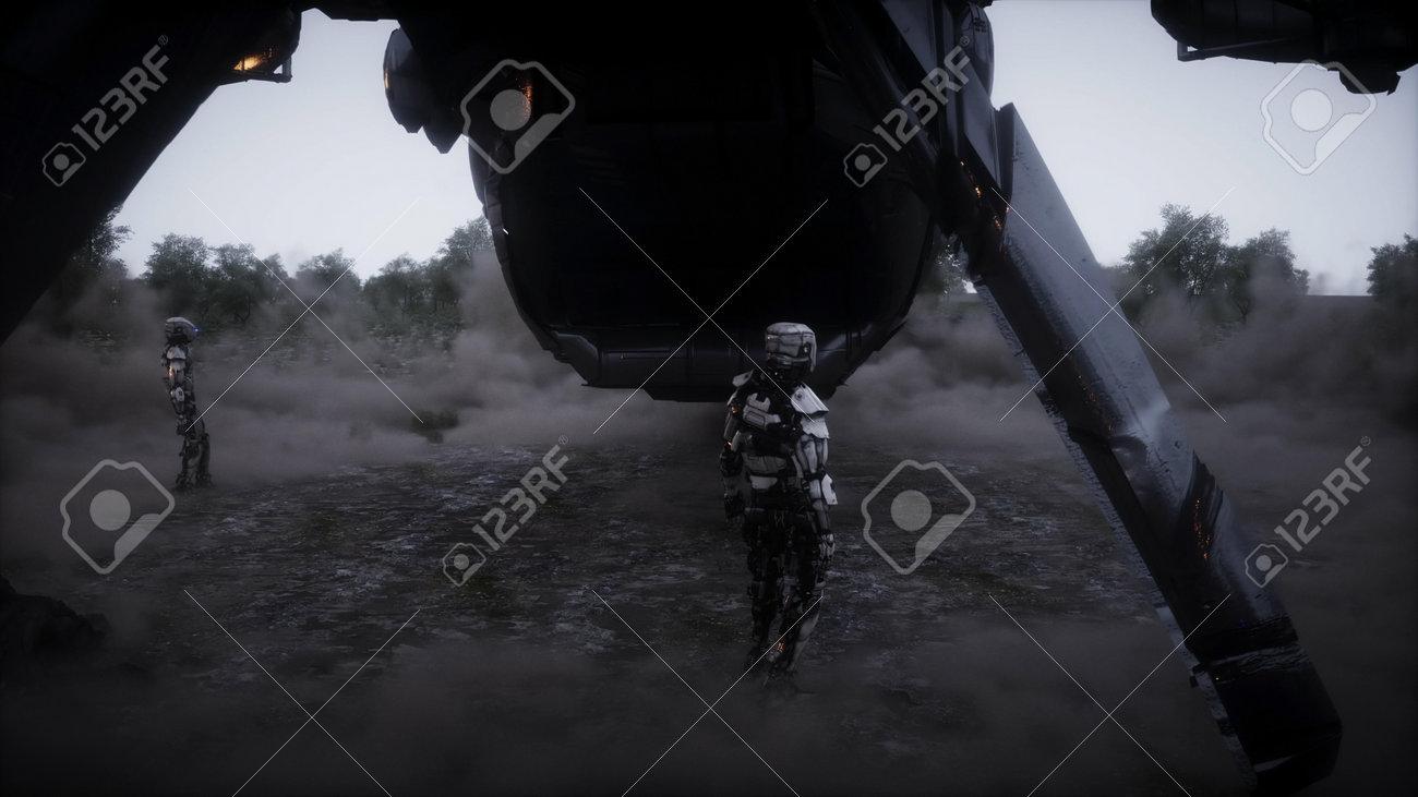 Futuristic sci fi ship take wing. Military robot. Apocalypse city. 3d rendering. - 162356208
