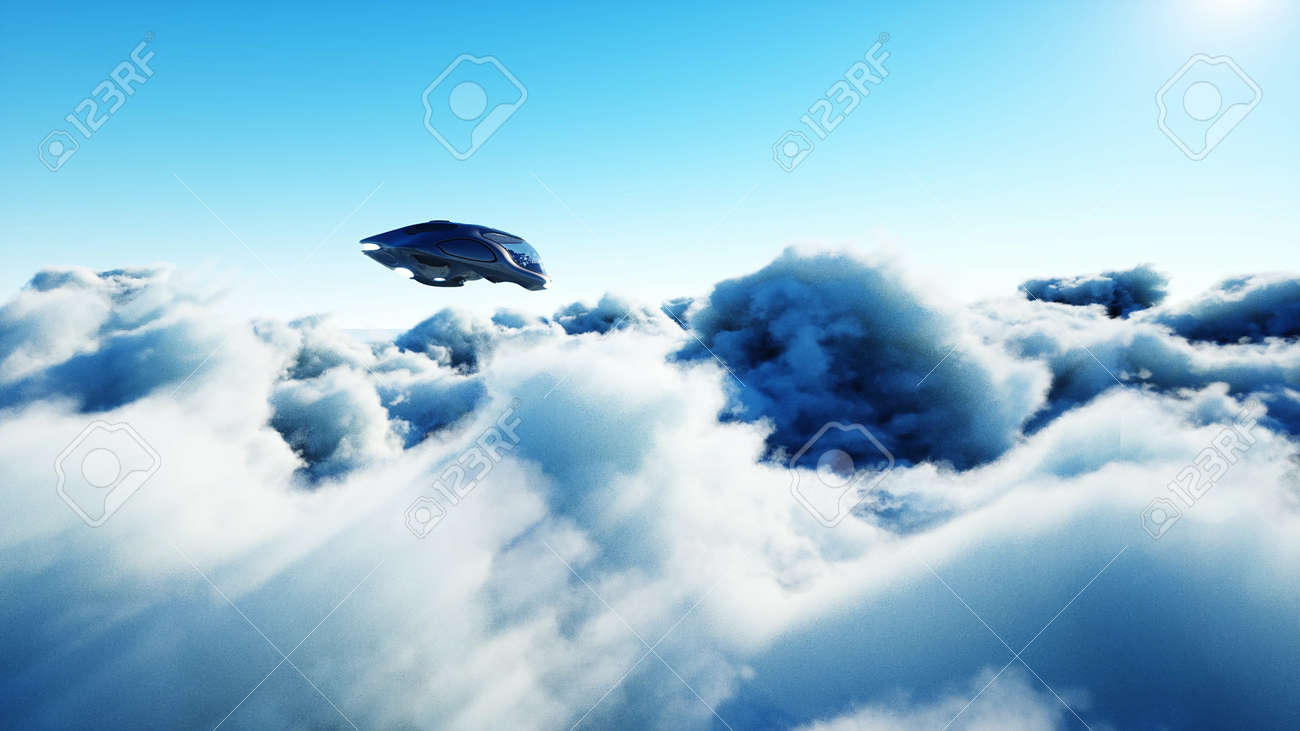Futuristic sci fi ship flying in the clouds. 3d rendering. - 162356209