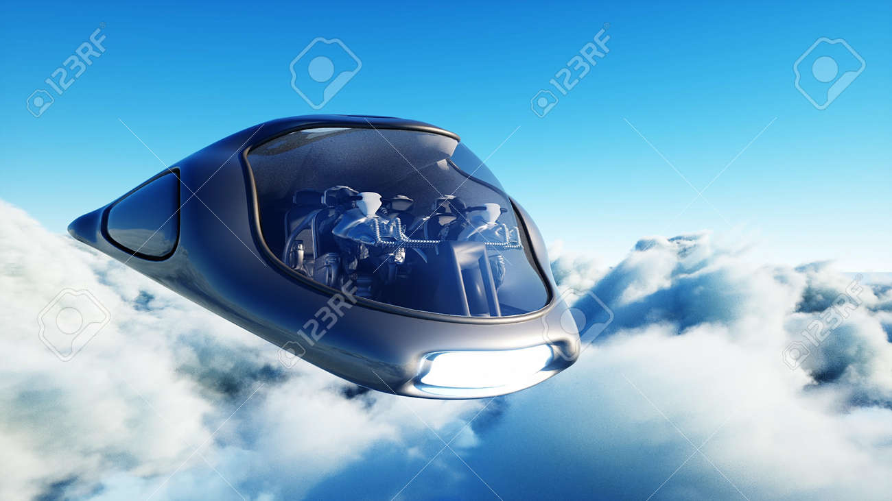 Futuristic sci fi ship flying in the clouds. 3d rendering. - 162356211