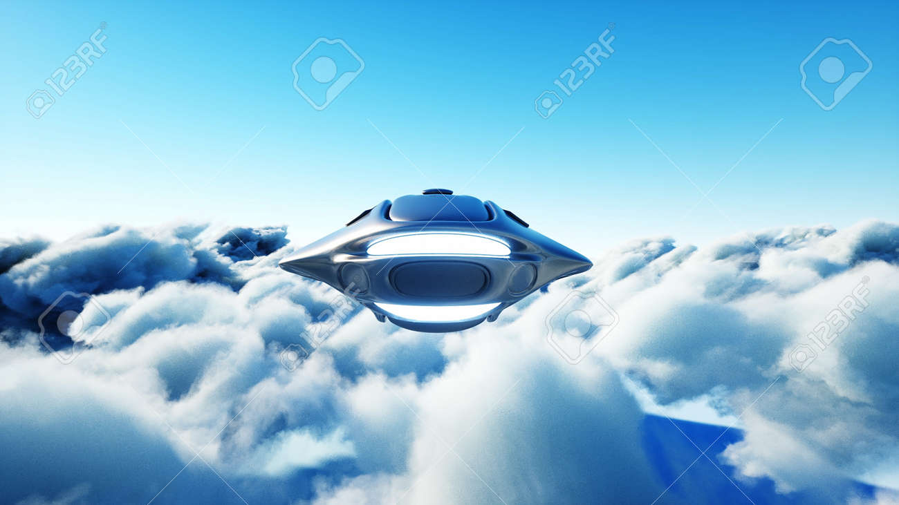 Futuristic sci fi ship flying in the clouds. 3d rendering. - 162356216