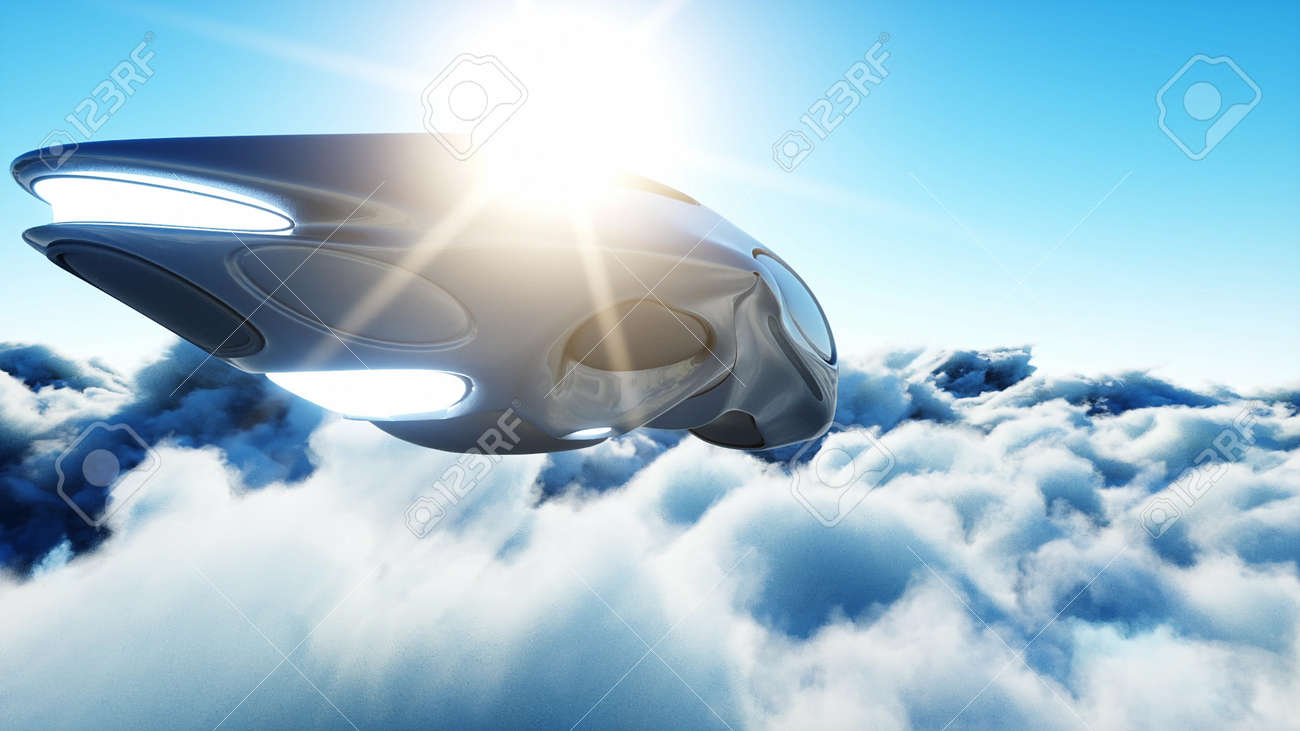 Futuristic sci fi ship flying in the clouds. 3d rendering. - 162356219