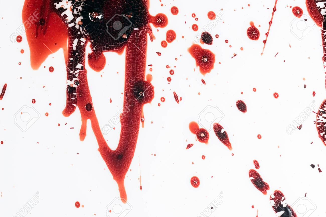 Realistic bloody splatters. Drop and blob of blood. Bloodstains. - 127892618