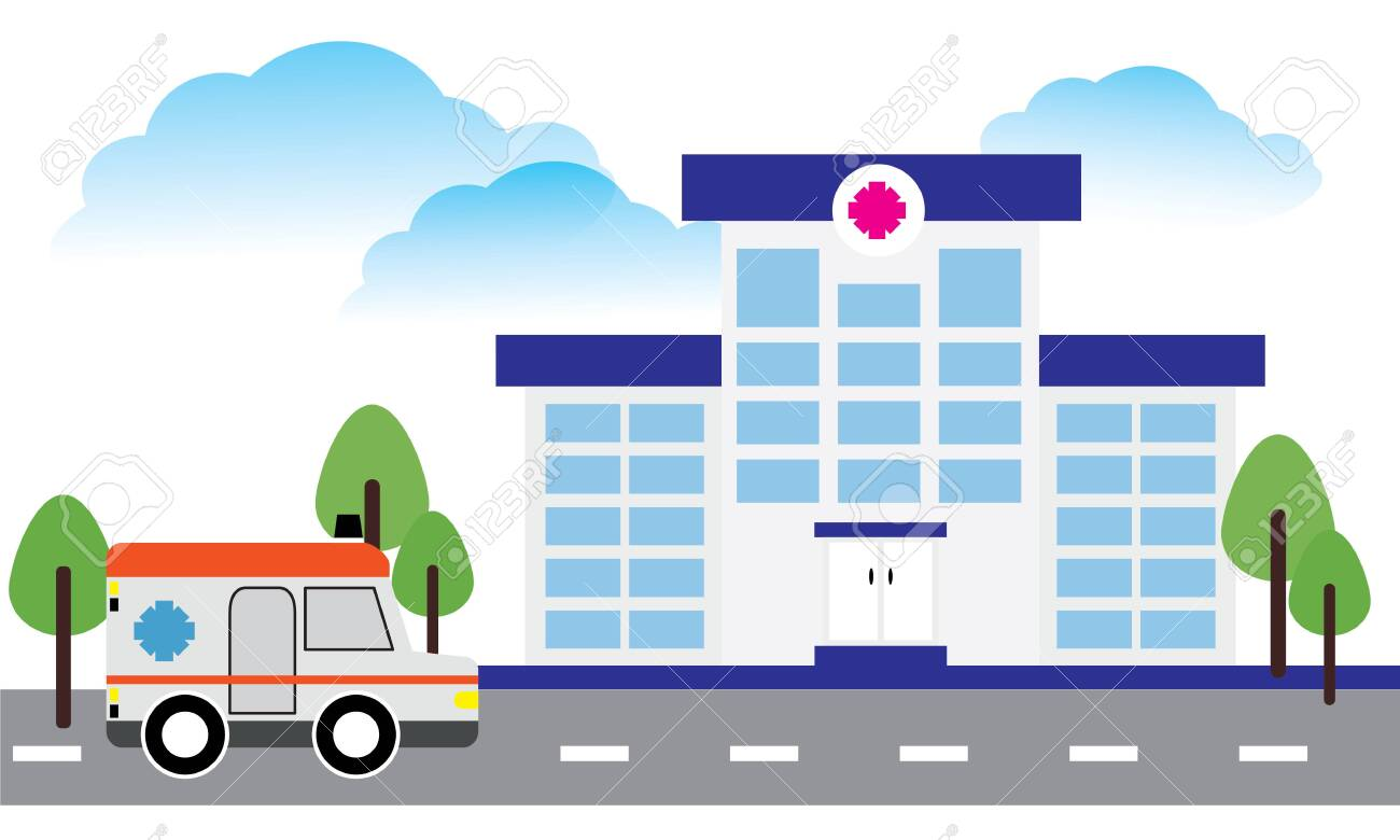 Medical concept with hospital buildings and ambulances in a smooth style - 127893443