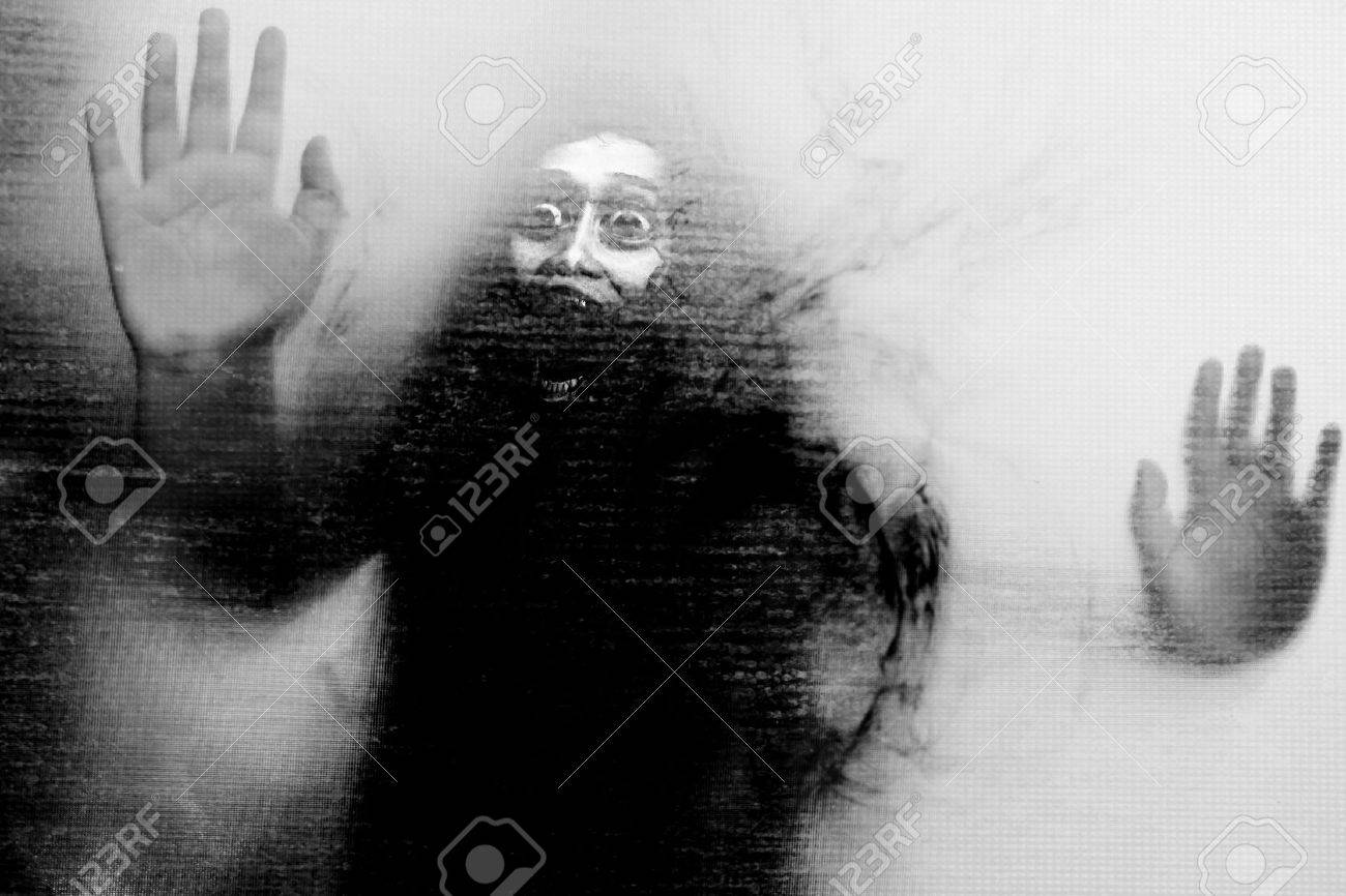 Let Me Out,Black And White Horror Background For Halloween Or Ghost Concept - 30313998