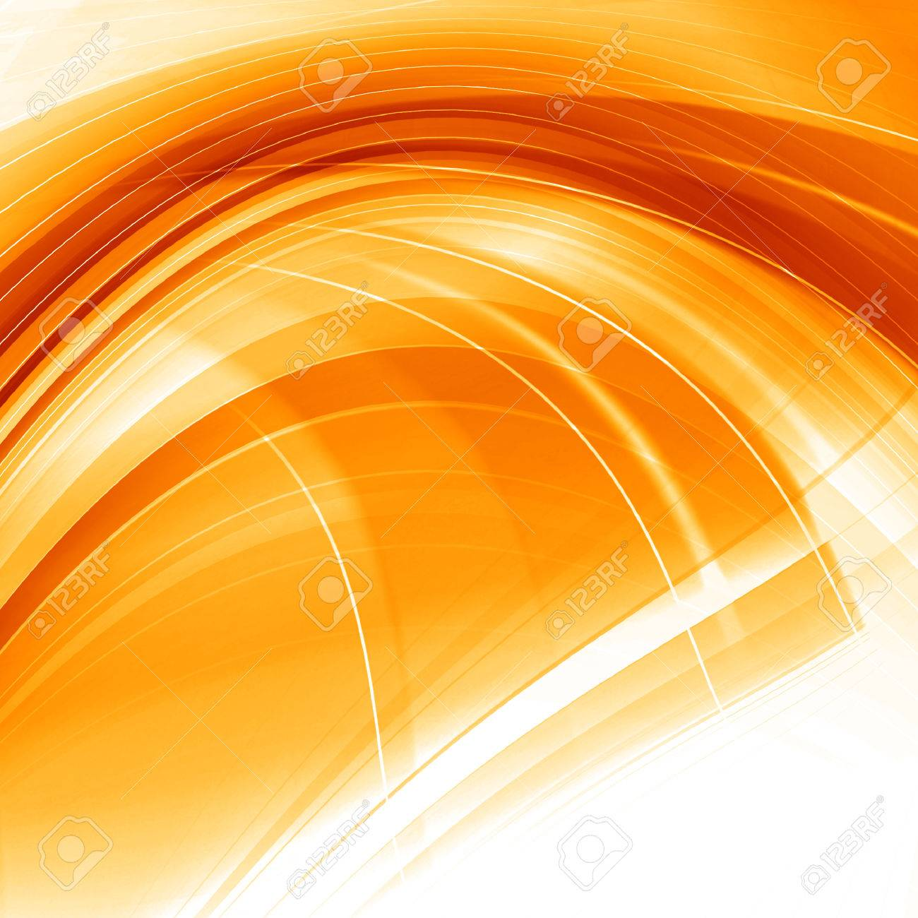 Orange Abstract Smooth Curves Lines Background Design - 37411866