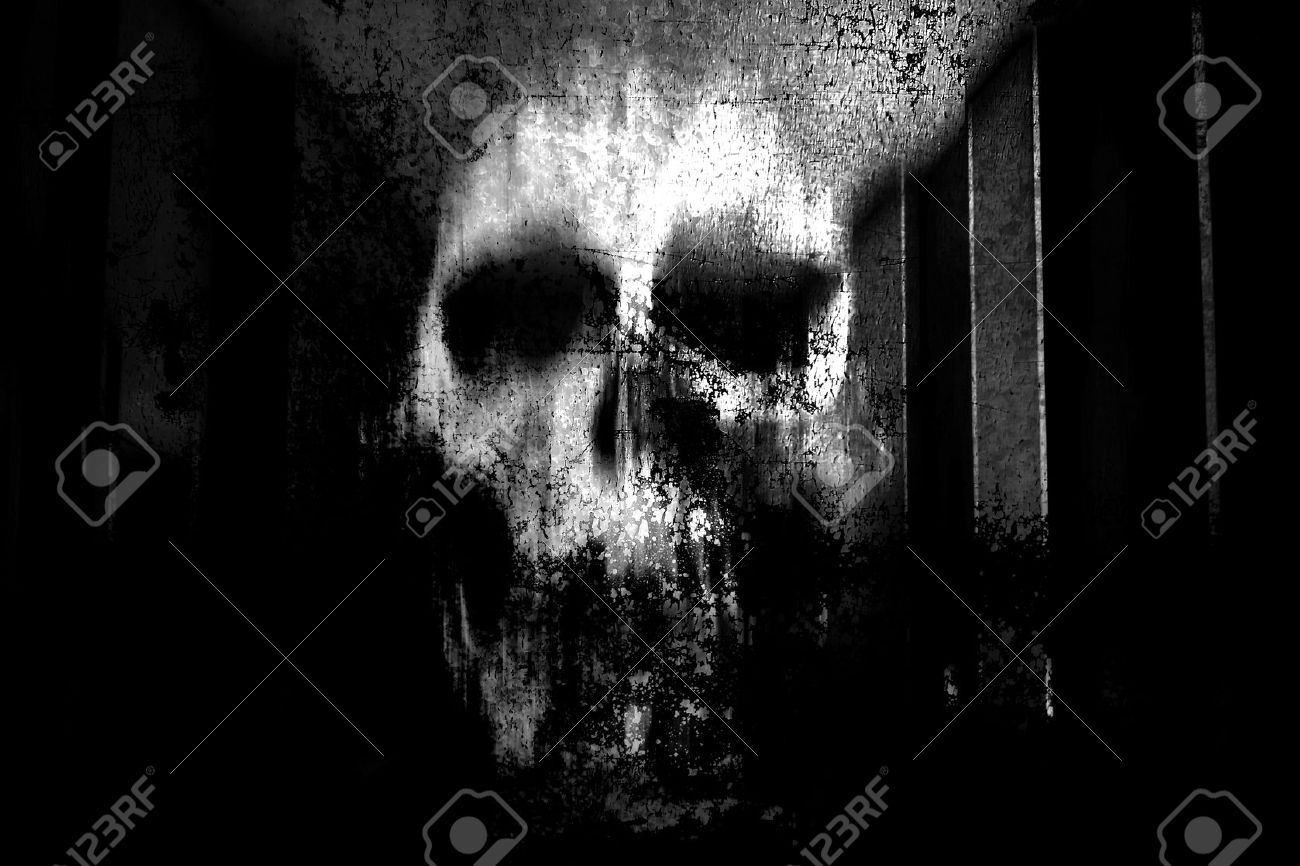 Horror skullblack and white horror background for halloween concept and movie poster project stock