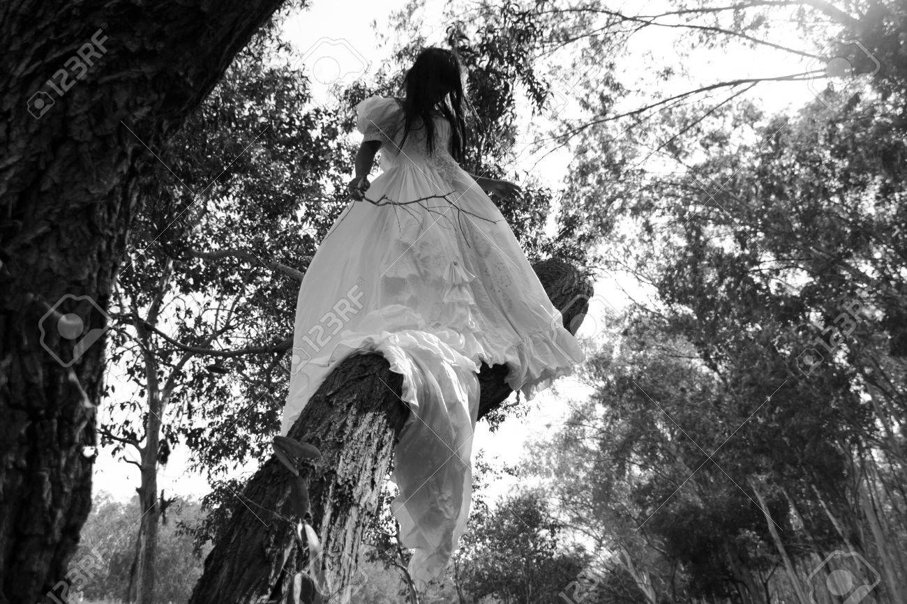 Haunted Forest,Horror Story, Mysterious Woman in White Dress