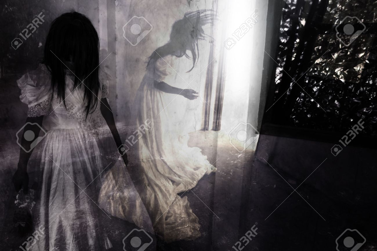 Fear Night,Ghost in Haunted House,Mysterious Woman in White Dress Standing in Abandon Building,Horror Background For Halloween Concept and Book Cover Ideas - 49544002