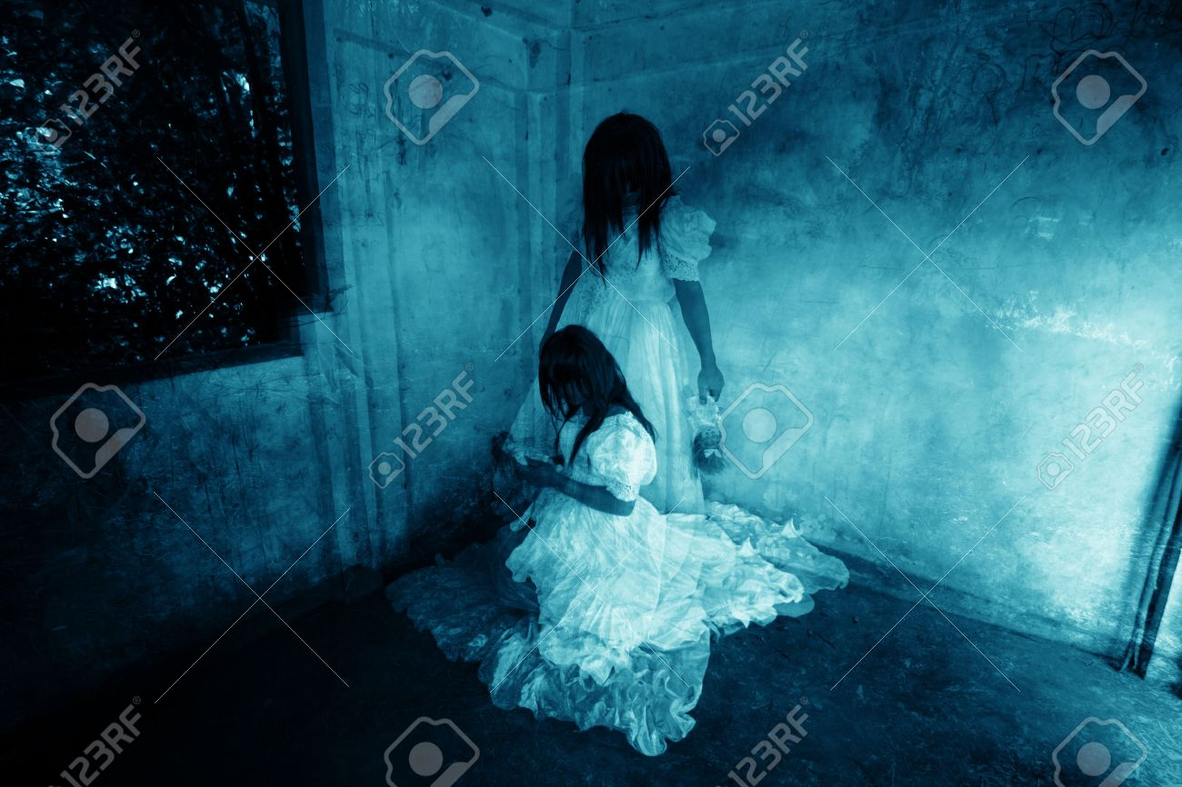 Me and My Sister,Ghost in Haunted House,Mysterious Twins Woman in White Dress Standing and Sitting in Abandon Building,Horror Background For Halloween Concept and Book Cover Ideas - 49544003