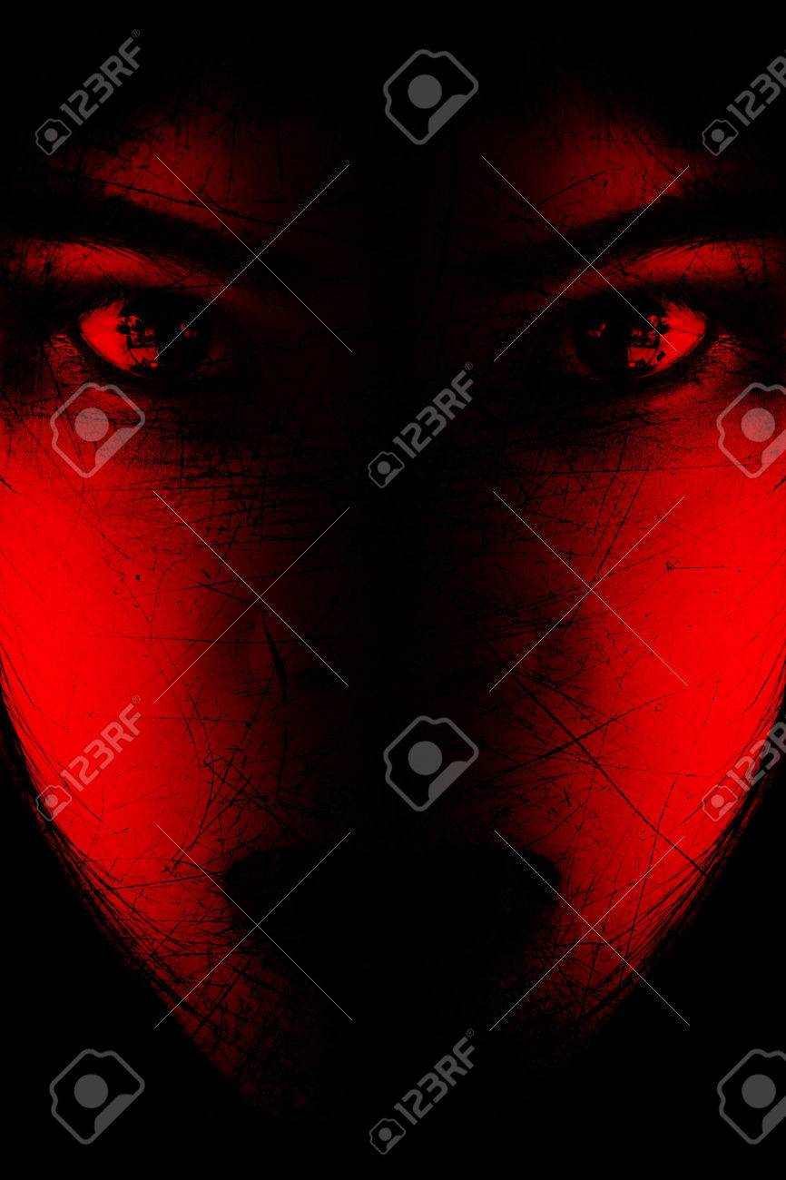 Red is scary,Portrait of scary girl staring at cameras,Background for halloween concept and movie poster project - 53744906