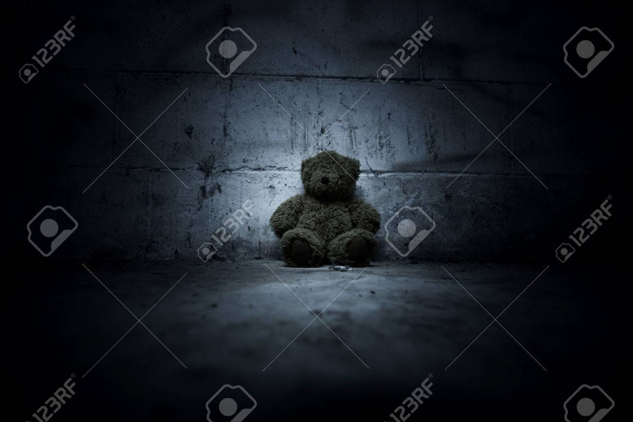 Teddy Bear Sitting In Haunted HouseScary Background For Book Cover