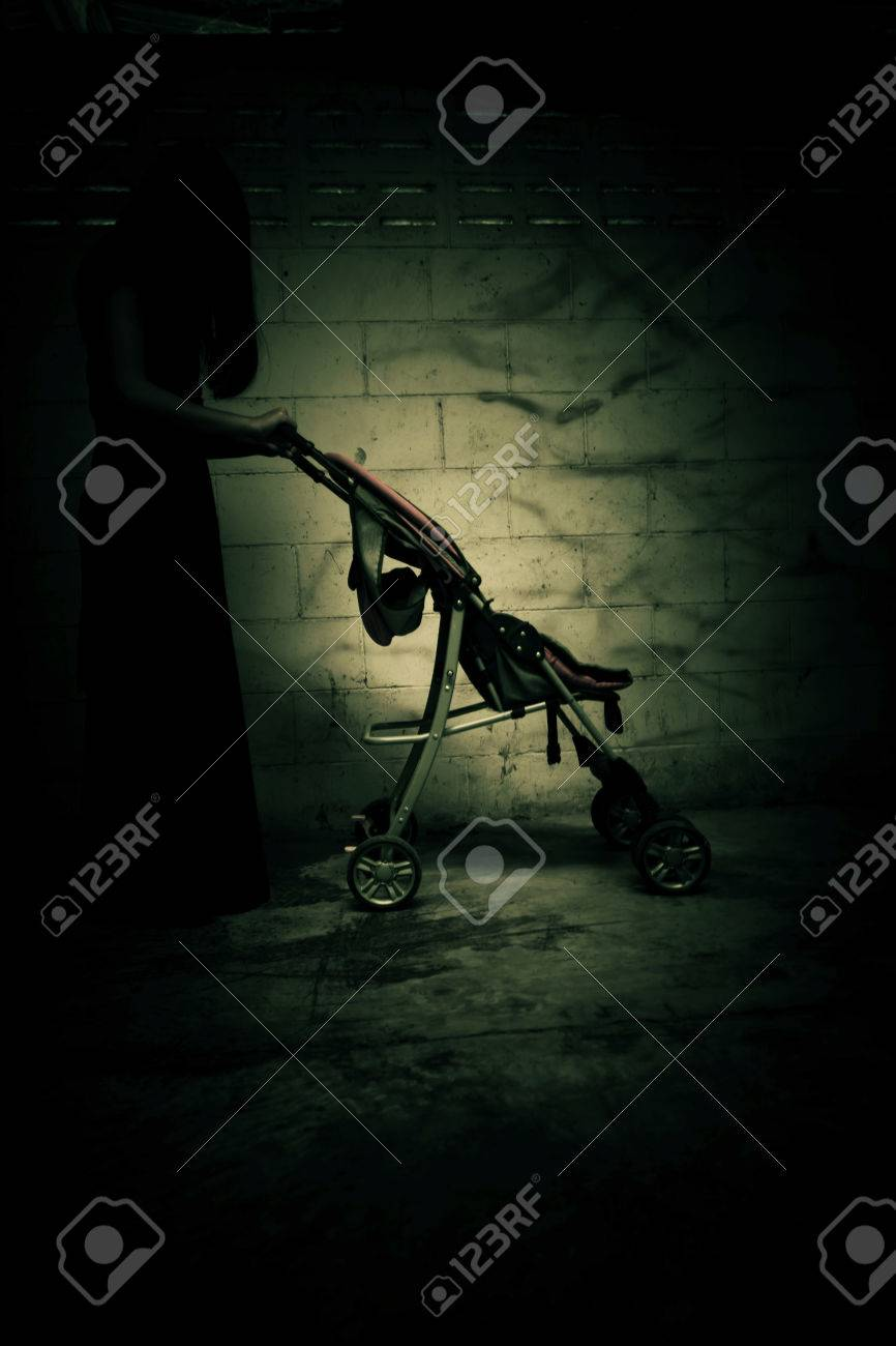 Ghost woman with baby stroller in Haunted House,Scary background
