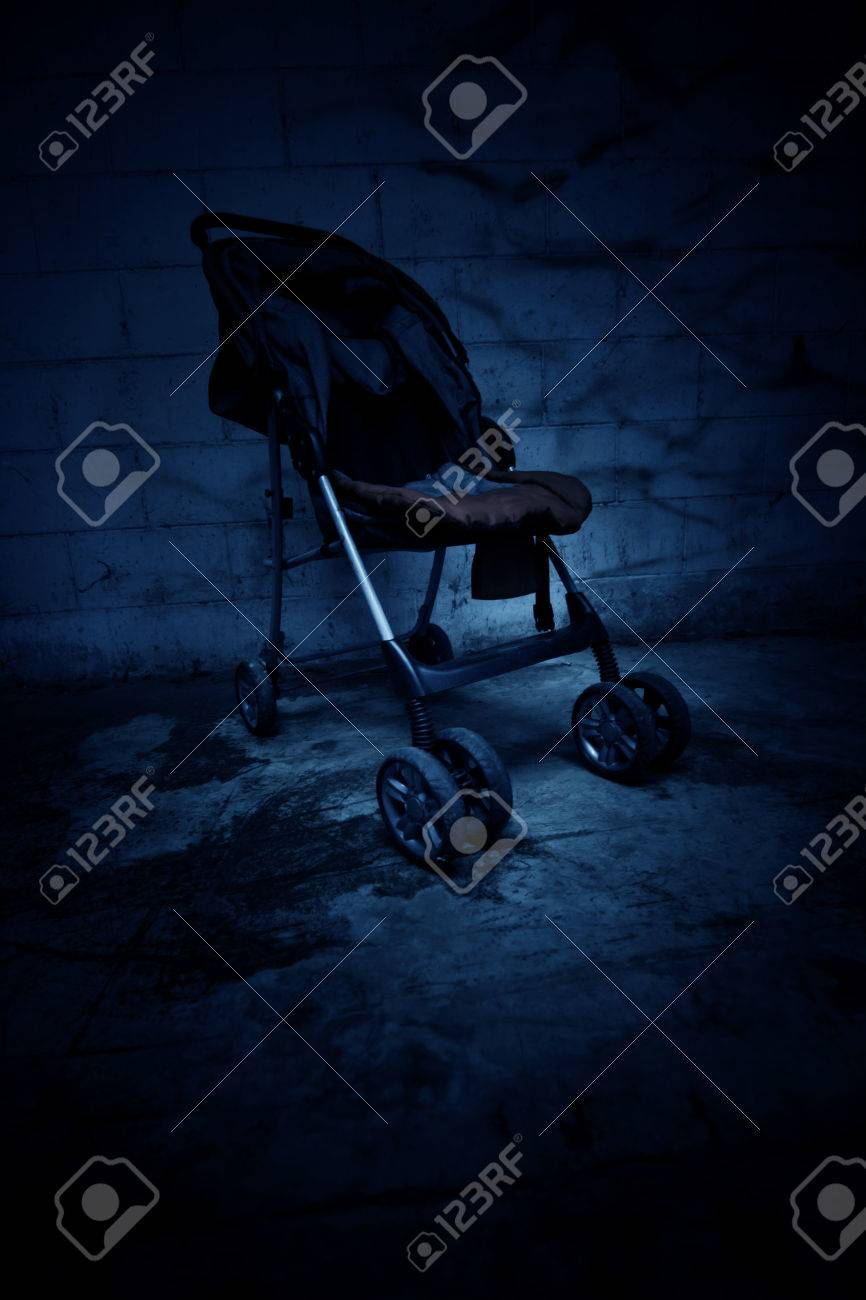 An empty baby stroller in haunted house,Scary background for