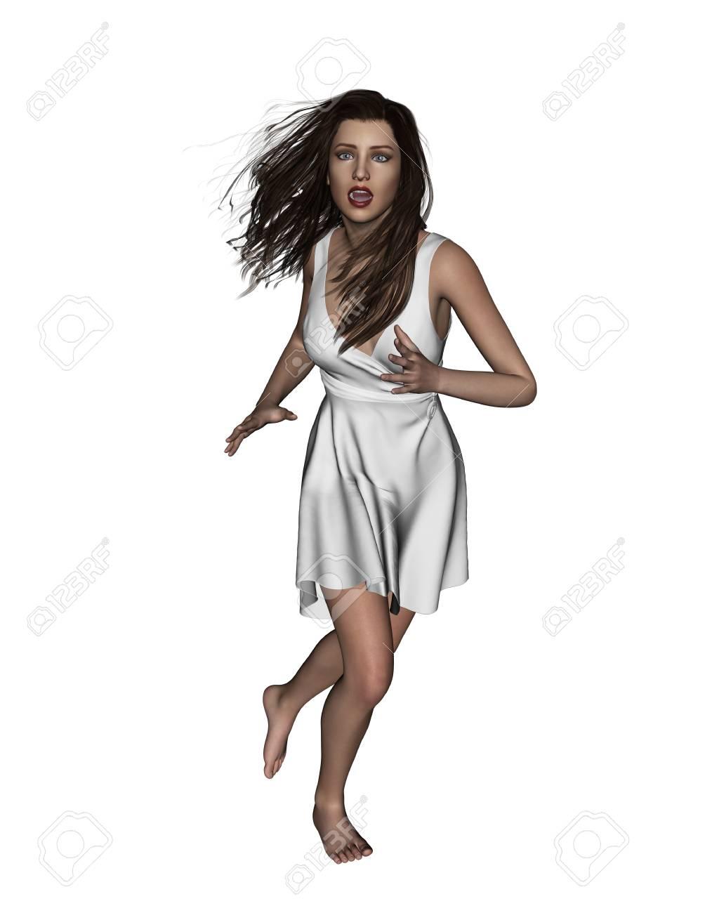 Illustration 3d De Femme Effrayee S Enfuyant Concept Et Idees De Fond Pour La Couverture De Livre Ou Affiche De Film D Horreur