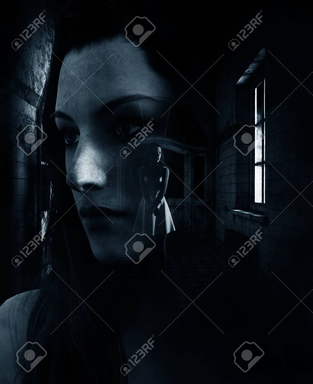 3d rendering of a woman is trying to survive in haunted house,book