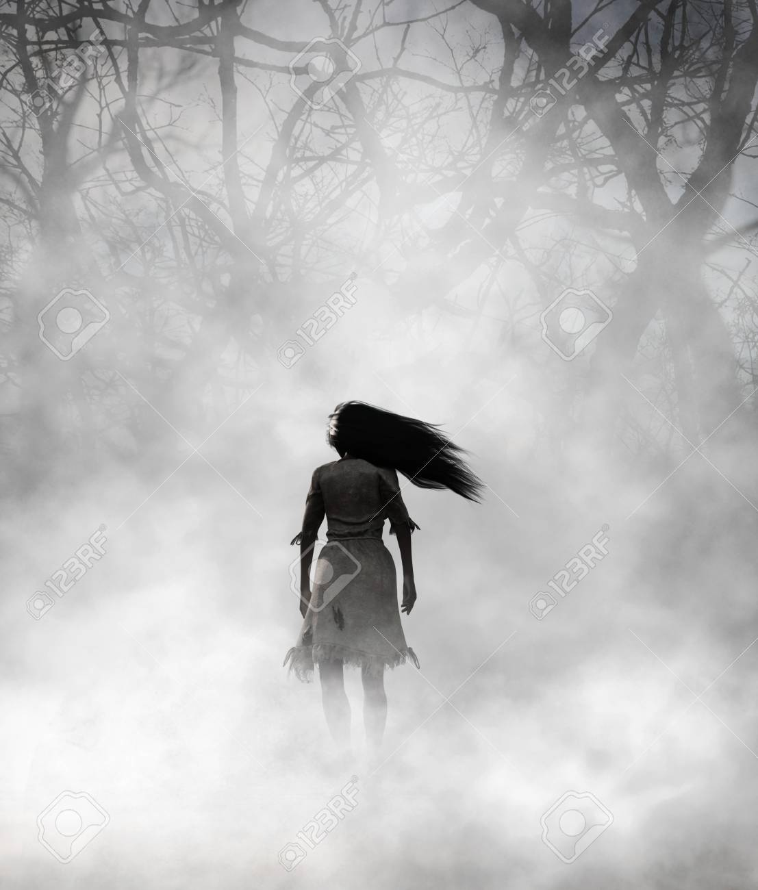 Ghost woman in foggy forest,3d Mixed media for book illustration or book cover - 108862799