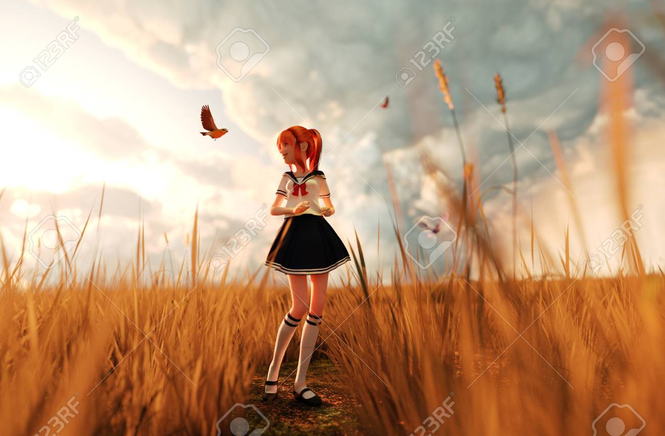 Birds Song3d Illustration Of A Happy Schoolgirl Walking Alone