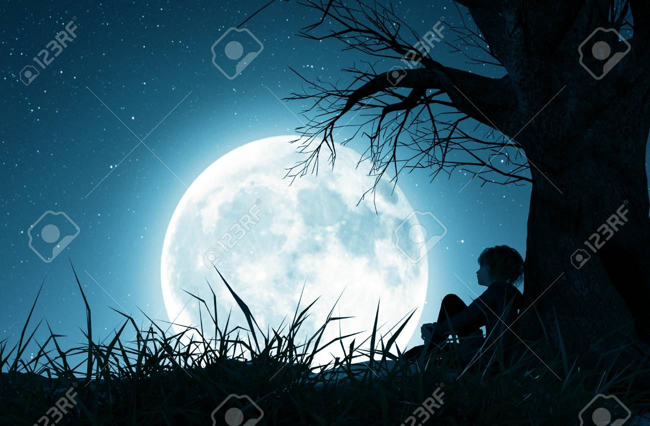 Lonely girl sitting alone under the tree and looking to the moon,3d rendering - 120695217