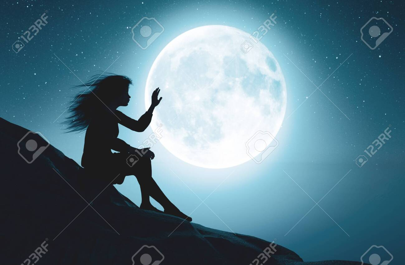 Alone Girl Touching The Moon In Starry ...