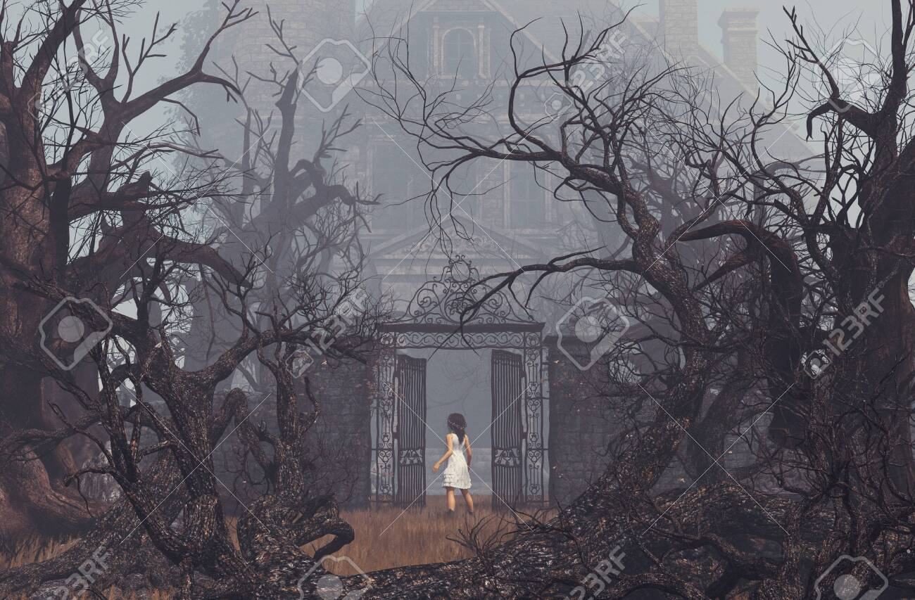 Girl enter to haunted manor,3d illustration - 125585331