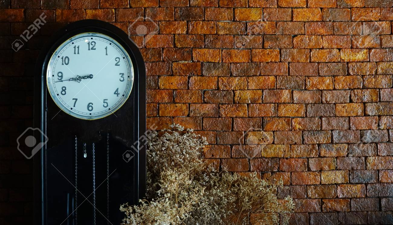 Reto clock .Background space brick wall - 119379360